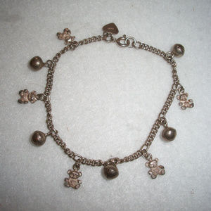 Sterling Silver Bears Charms Bracelet